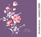 set of card with flower rose ...   Shutterstock . vector #1666013080
