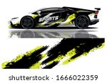 sports car wrapping decal design | Shutterstock .eps vector #1666022359