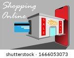 shopping online on website or...   Shutterstock .eps vector #1666053073