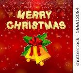 merry christmas bells  red... | Shutterstock .eps vector #166613084