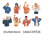 people wearing headphones and...   Shutterstock .eps vector #1666134526