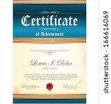 blue certificate template | Shutterstock .eps vector #166616069