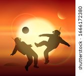 astronauts playing soccer or... | Shutterstock .eps vector #1666172380