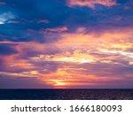 Sunset At Kuta Beach In Bali...