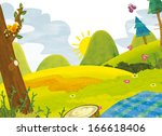 cartoon scenery   summer  ...   Shutterstock . vector #166618406