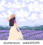 young woman enjoys the scenery... | Shutterstock .eps vector #1666205290