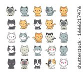 Set Of Cute Cats On White...