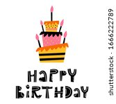 happy birthday lettering and a... | Shutterstock .eps vector #1666222789
