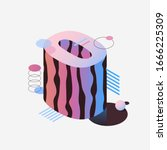 3d isometric pink and purple... | Shutterstock .eps vector #1666225309