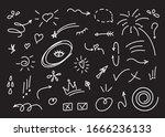 hand drawn set elements  black... | Shutterstock .eps vector #1666236133