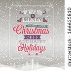 christmas vintage poster.... | Shutterstock .eps vector #166625810