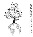 globe concept tree roots | Shutterstock .eps vector #166635848