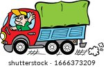 truck illustration with... | Shutterstock .eps vector #1666373209
