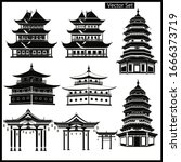 set of chinese temples  gates...   Shutterstock .eps vector #1666373719