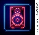 glowing neon stereo speaker...   Shutterstock .eps vector #1666389103
