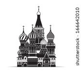saint basil cathedral   moscow  ... | Shutterstock .eps vector #166642010