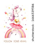 unicorn and rainbow cute... | Shutterstock . vector #1666539586