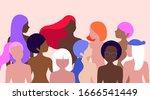 trendy close up women vector... | Shutterstock .eps vector #1666541449