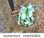 Garden Frog Figures  Worn And...