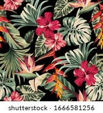 vector seamless pattern exotic  ... | Shutterstock .eps vector #1666581256