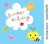 cute bee summer holiday | Shutterstock .eps vector #166658690