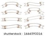 set of blank vintage ribbon... | Shutterstock .eps vector #1666593316