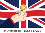 bitcoin great britain   hand... | Shutterstock .eps vector #1666617229