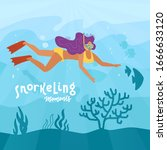 woman character free diving or... | Shutterstock .eps vector #1666633120