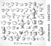 sketches of tea objects. hand... | Shutterstock .eps vector #166671020