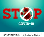 stop covid 19 sign   symbol ... | Shutterstock .eps vector #1666725613