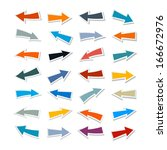 paper arrows set isolated on... | Shutterstock .eps vector #166672976