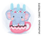 watercolor style elephant... | Shutterstock .eps vector #1666798393