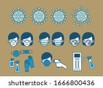 nice icon set of covid 19... | Shutterstock .eps vector #1666800436
