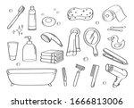 cute doodle bathroom... | Shutterstock .eps vector #1666813006