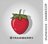 strawberry flat icon vector.... | Shutterstock .eps vector #1666865239