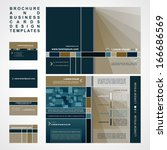 brochure and business cards... | Shutterstock .eps vector #166686569