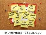 a wall calendar on a cork...   Shutterstock . vector #166687130
