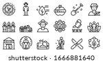 agronomist icons set. outline... | Shutterstock .eps vector #1666881640