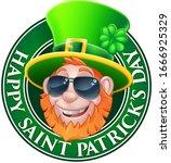 a cartoon leprechaun in a happy ... | Shutterstock .eps vector #1666925329
