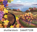 rural landscape with vineyard... | Shutterstock .eps vector #166697108