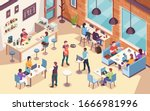 interior view on people working ... | Shutterstock . vector #1666981996