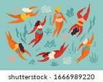cute decorative background with ... | Shutterstock .eps vector #1666989220