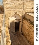 Small photo of Jerusalem/Israel - December 27 2019: Terra Sancta Chapel entrance. Chapel of Terra Sancta is the name of a Catholic Church that is located inside the educational complex of the Terra Sancta College.