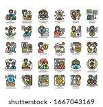 set of human resource thin line ... | Shutterstock .eps vector #1667043169