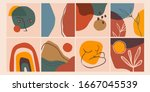 set of eight abstract... | Shutterstock .eps vector #1667045539
