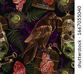 alchemy seamless pattern.... | Shutterstock .eps vector #1667055040
