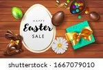 happy easter sale offer banner... | Shutterstock .eps vector #1667079010