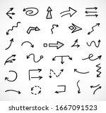 vector set of hand drawn arrows  | Shutterstock .eps vector #1667091523