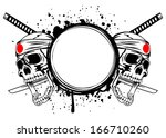 two skulls with bandage on head ... | Shutterstock .eps vector #166710260