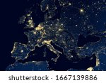 Earth At Night  View Of City...